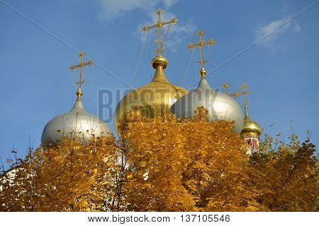 Gold and silver dome in the center of the autumn.
