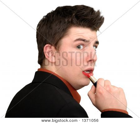 Young Man Caught Applying Lipstick
