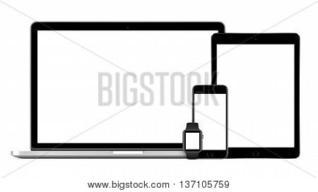 Varna Bulgaria - March 10 2016: Apple MacBook Pro with Space Gray iPad Pro iPhone 6S and Apple Watch mockup. Isolated on white background. Tech set for responsive or adaptive design presentation.