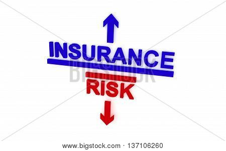 What choose: insurance or risk. 3D rendering.