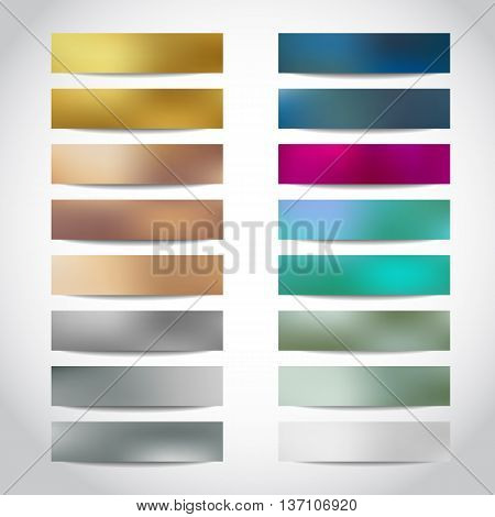 Set of gold, silver, bronze vector banners templates or website headers