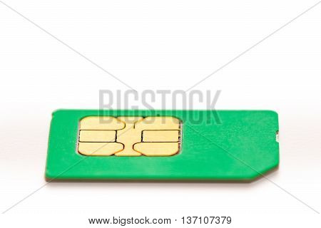 sim card for mobile phone closeup on white background