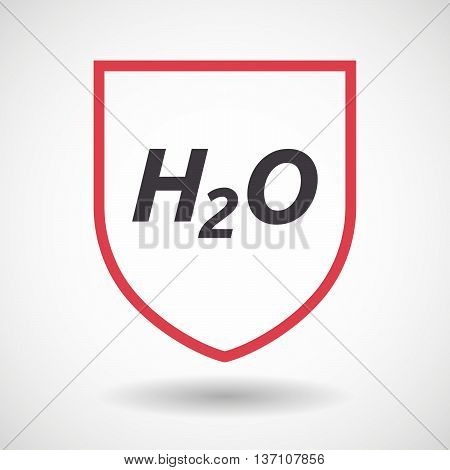 Isolated Line Art Shield Icon With    The Text H2O