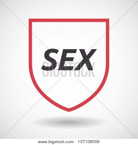 Isolated Line Art Shield Icon With    The Text Sex