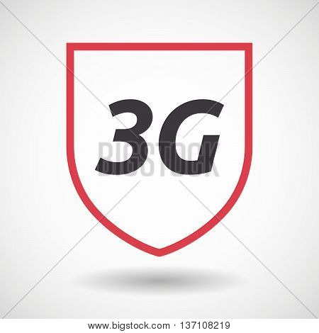 Isolated Line Art Shield Icon With    The Text 3G