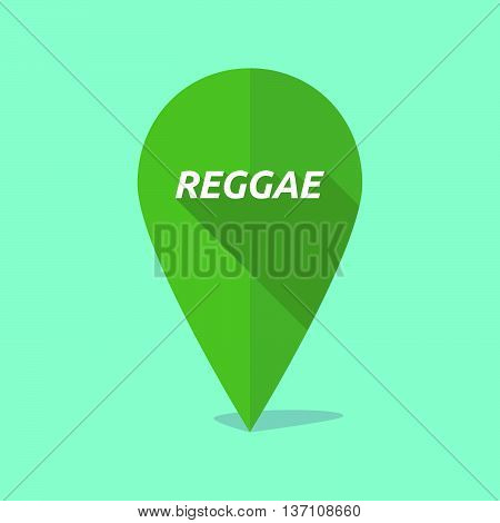 Long Shadow Map Mark Icon With    The Text Reggae