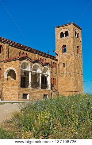 Greek orthodox church near mediterranean coast at Sithonia, Greece