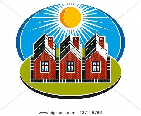 Bright illustration of country houses constructed with bricks. Village theme vector simple homes on sunny landscape.