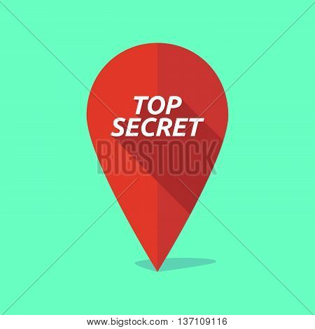 Long Shadow Map Mark Icon With    The Text Top Secret
