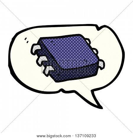freehand drawn comic book speech bubble cartoon computer chip