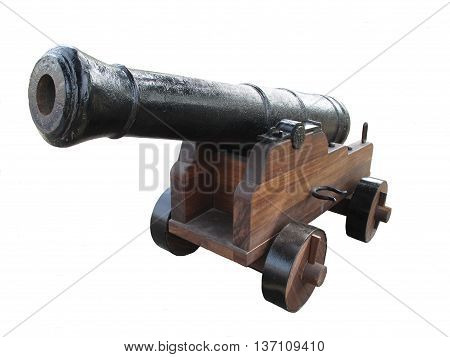 Old iron canon isolated on white background