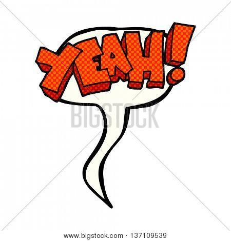 yeah! freehand drawn comic book speech bubble cartoon shout