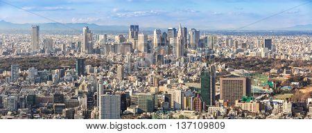 Tokyo city skyline in Shinjuku area panorama