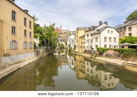 Luxembourg City, downtown city part Grund, scenic view with the Alzette river in Luxembourg