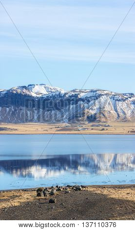 Iceland glacier cliff mountain and lake