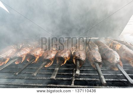 Grilled Snakehead fish Thai style food