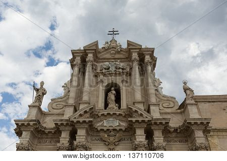 the 7th century Cathedral of Syracuse on the island of Ortygia, Sicily, Italy