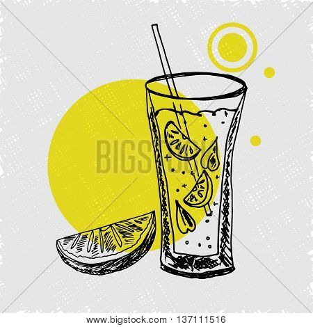 Hand drawn poster with lemonade. A glass of lemonade with straw mint and slice of lemons.Sketch style. Vector illustartion.