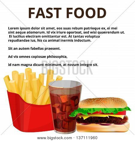 fast food french in the package cola hamburger isolated on white background
