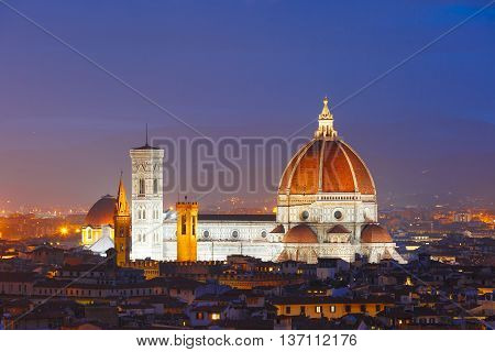 Duomo Santa Maria Del Fiore at night from Piazzale Michelangelo in Florence, Tuscany, Italy