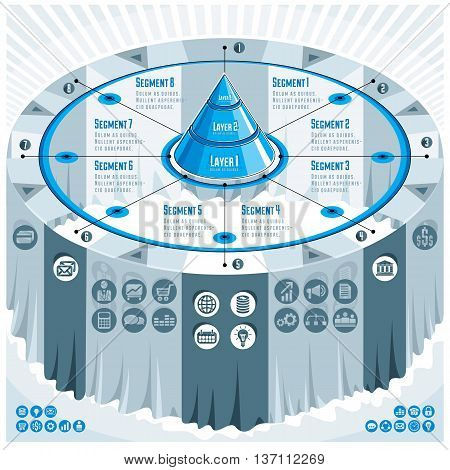 Creative Infographics Concept, 3D Table With Layered Pyramid Idea, Vector Layout Illustration.