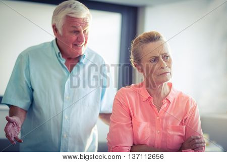 Senior woman ignoring a senior man while argument at home