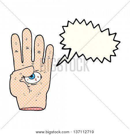 freehand drawn comic book speech bubble cartoon spooky hand with eyeball
