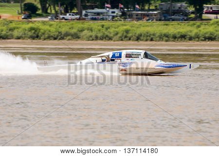 Madison Indiana - July 2 2016: Danny Wall in the GNH 68 races in the Grand National Saturday qualification heat #1 at the Madison Regatta in Madison Indiana July 2 2016.