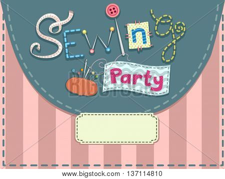 Ready to Print Invitation Card with a Sewing Theme