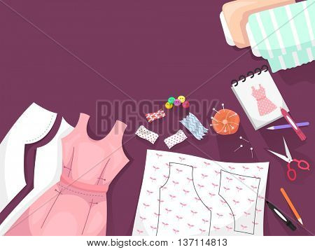 Border Illustration Featuring Dressmaking Patterns