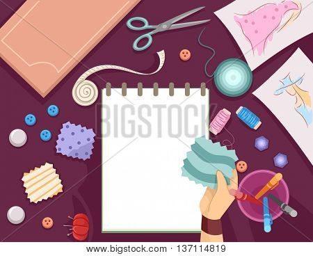 Illustration Featuring a Sketch Pad Surrounded by Swatches of Fabric