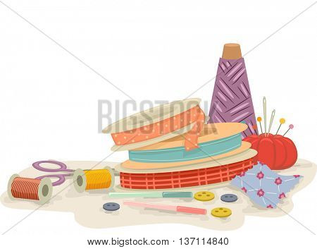 Colorful Illustration Featuring Different Sewing Tools