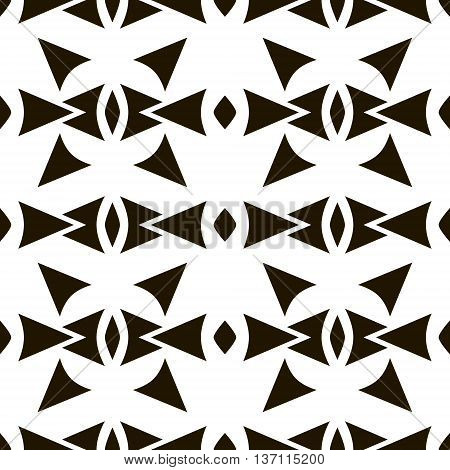 Abstract seamless pattern of sagittate, triangular, rhomboid elements. Laconic black and white print with ethnic motifs. Geometric tribal priest ornament. Vector illustration for creative design