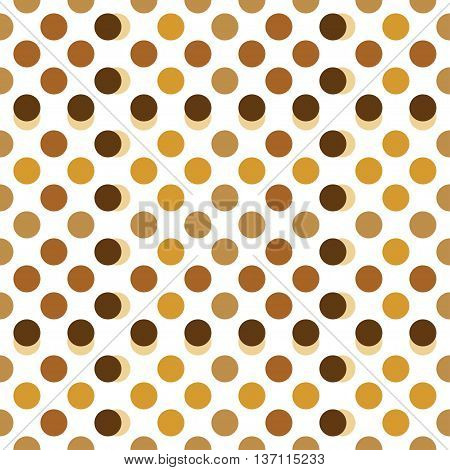 Seamless pattern with dots. Light beige, brown and gold ornament. Decoration repeated pattern of rings or circles. Abstract circles and polka dot background.