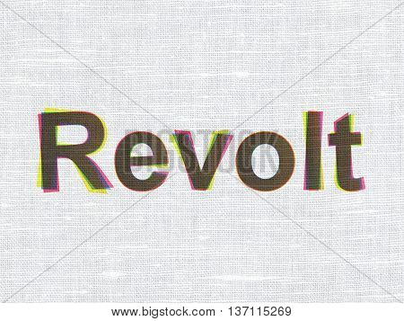 Politics concept: CMYK Revolt on linen fabric texture background