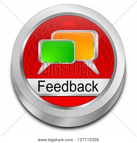 decorative red Feedback button - 3D illustration