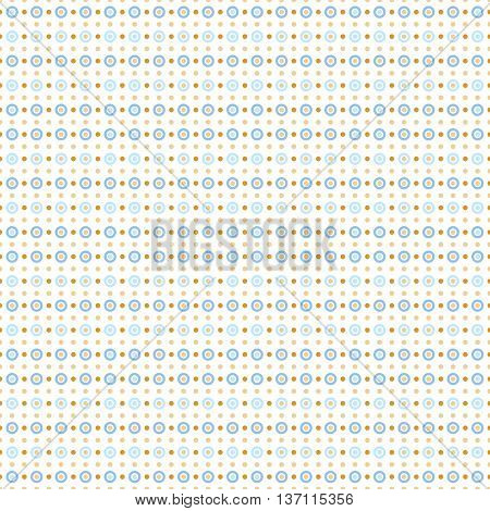 Seamless pattern with dots and circles. Light beige, blue and gold ornament. Decoration repeated pattern of rings and discs. Abstract circles and polka dot background.