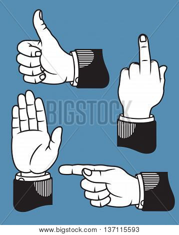 Set of four hand gestures based on classic printers pointers including pointing, stop or wave, middle finger, and thumbs up.