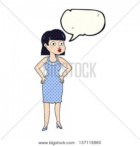freehand drawn comic book speech bubble cartoon woman with hands on hips