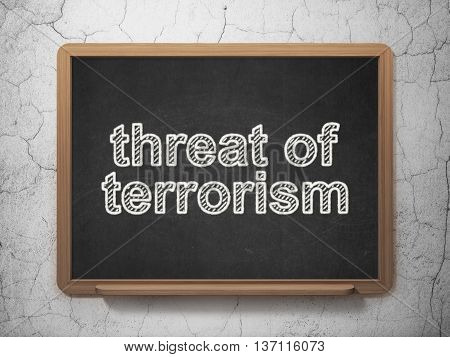 Politics concept: text Threat Of Terrorism on Black chalkboard on grunge wall background, 3D rendering