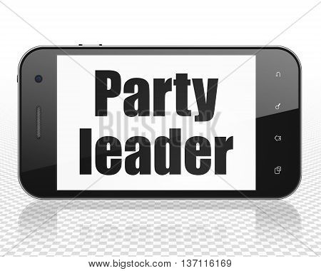 Politics concept: Smartphone with black text Party Leader on display, 3D rendering