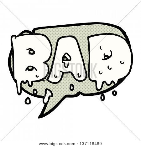 freehand drawn comic book speech bubble cartoon word bad