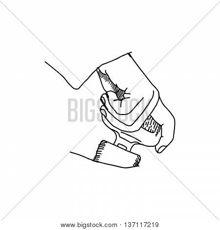illustration vector doodle hand drawn of sketch hand fastening seat belt in car