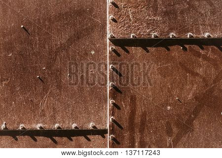 Metal Rusty Panel With Rivets