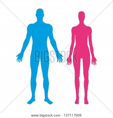 Silhouettes of man and woman. Vector illustration