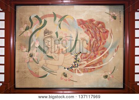 ASAKUSA, JAPAN - APRIL 24:The painting on the ceiling of Senso-ji temple which dedicated from Tourist Organization of Japan and partners to the shrine on April 24, 2016 in Asakusa, Japan.