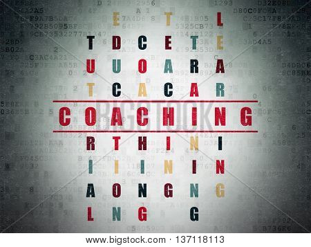 Learning concept: Painted red word Coaching in solving Crossword Puzzle on Digital Data Paper background