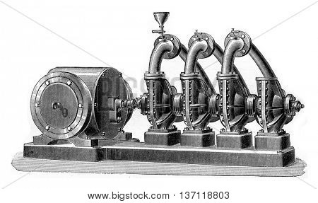 Group of four conjugates pumps, Dumont system, actuated by an electric motor operating in a wet well, vintage engraved illustration. Industrial encyclopedia E.-O. Lami - 1875.
