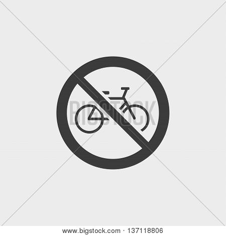 No bicycle icon in a flat design in black color. Vector illustration eps10