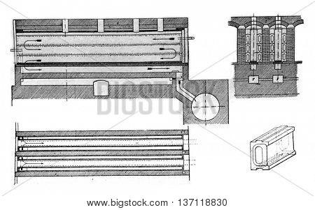 Furnace coke, Semet Solvay system, vintage engraved illustration. Industrial encyclopedia E.-O. Lami - 1875.